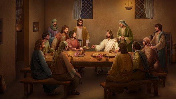 O Senhor Jesus come pão e explica as Escrituras após a Sua ressurreição